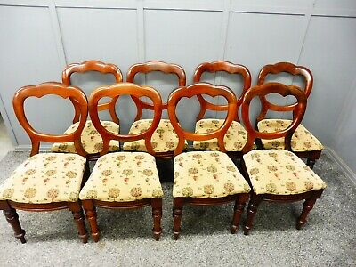 A Set Of 8 Antique Walnut Crown Top Balloon Back Chairs Circa 1860-1880