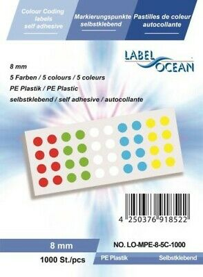 Marking Points, Assorted Colours 8mm, round, Made from Plastic Labelocean (R)