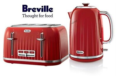 Kettle and Toaster Set Breville Impressions Red Kettle & 4 Slice Toaster - New