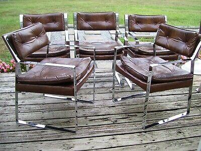 Vintage Mid Century Modern Chrome Chairs - Flat Bar -Milo Baughman Era