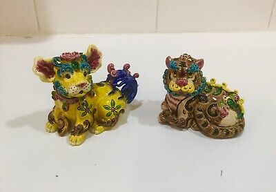 "Vintage Chinese Painted/Glazed Porcelain/Ceramic Foo Dogs Pair-3"" Tall-Signed"