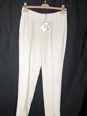 $975 New Brunello Cucinelli Womens Pants Off White Silk Size 8 44 L Large