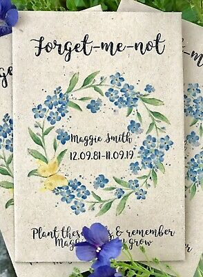 10 Personalised Forget-Me-Not Seeds Funeral Memorial Memory Remembrance Favour