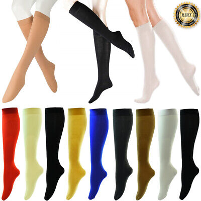 Plain Silky Women Girl Knee High Stockings Trousers Dress Socks with Spandex Lot