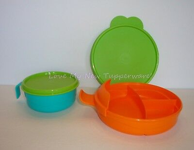 Tupperware Kids Divided Dish w/Handle & Feeding Cup Green & Orange Rare New