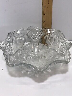 American Brilliant Antique Handled Deep Cut Crystal Bowl Nappy Signed JB Higbee