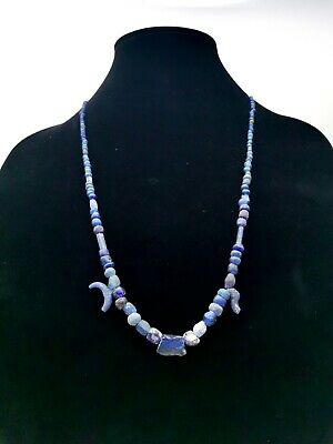Rare Roman Ca.200 Ad Blue Glass Beaded Necklace - Wearable - R765
