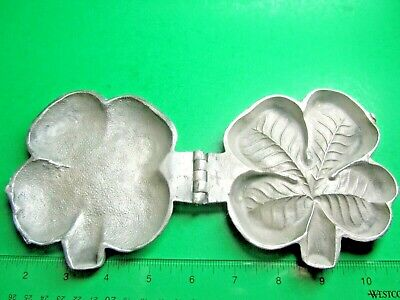 ANTIQUE VICTORIAN 4-LEAF CLOVER CHOCOLATE ICE CREAM PEWTER MOLD E & Co NY (CM)