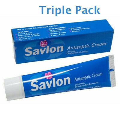 3 x Savlon Antiseptic Cream 30g First Aid Cream Prevent Infection Exp Date 01/20