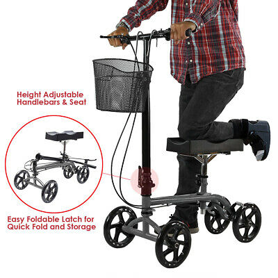 Clevr Medical Foldable Steerable Knee Walker Scooter with Basket, Silver