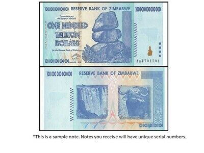 2008 100 Trillion Dollars Reserve Bank Of Zimbabwe, Aa P-91 Gem Uncirculated