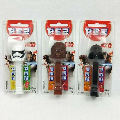 Pez Candy Dispenser x3 Star Wars Chewbacca Darth Stormtrooper Sealed Collectable