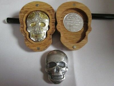 2 x  2 oz .999 Silver 24 kt gold  Day of the Dead Sunflower/Human Skull   /999