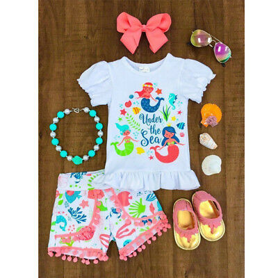 AU Stock Toddler Kids Baby Girls Tops Dot Shorts Pants 2pcs Clothes Outfits Set