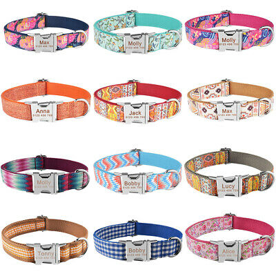 Free Engraved ID Name Personalized Dog Collar Small Medium Large Pet Nylon XS-L
