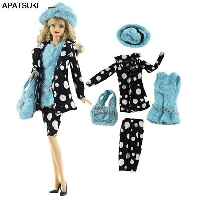 "Fashion Doll Clothes For 11.5"" 1/6 Doll Outfits Hat Coat Vest Shorts Handbag Set"