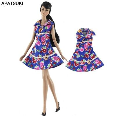 """Purple Strawberry Fashion Short Dress For 11.5"""" 1/6 Doll Clothes Outfits Gown"""