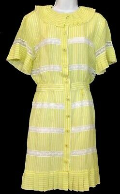 Chanel Dress 2019 Yellow And Ecru Silk Georgette Short Pleated Sleeve Size 36 Xs