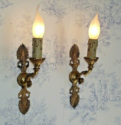 Old Pair Antique French Brass Single Wall Sconces With Fanned Leaf Design 1505