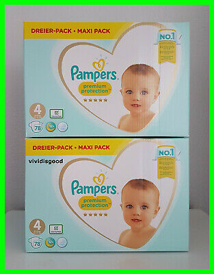 LOT DE 156 (2x78) COUCHES PAMPERS PREMIUM PROTECTION TAILLE 4 (9-14 kg)