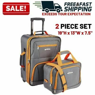 Wheeled Luggage Set 2 Piece Rolling Suitcase Tote Carry On Bag Travel Flight
