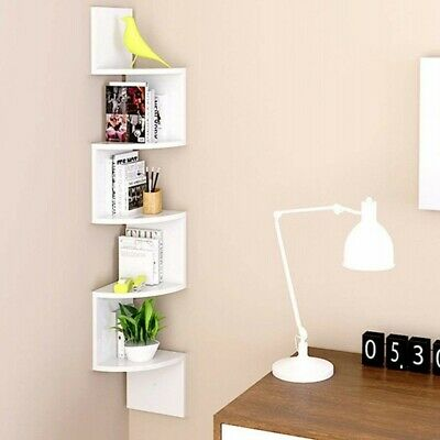5 Tier Floating Wall Mounted Shelves Corner Shelf Storage Display Bookcase Rack