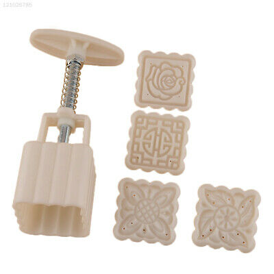 Moon Cake Mooncake Decoration Mold Mould Flowers Square 4 Stamps Pastry DIY HOT
