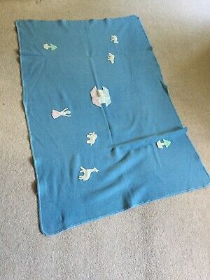 Vintage Kamella Baby Blanket Pure New Wool Applique Decorations Blue