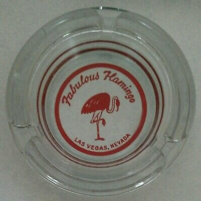 Fabulous Flamingo Las Vegas, Nevada glass ashtray red on clear