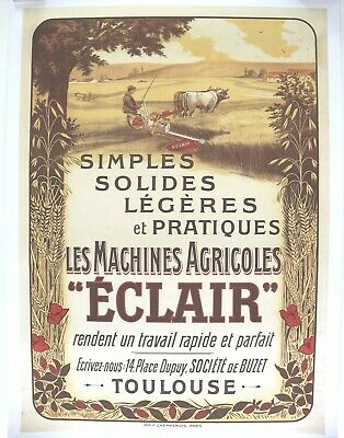 Poster Original Litho Machine Agricultural Zip Toulouse Buzet 1900 Tractomania