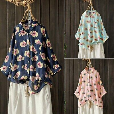 ZANZEA Womens Floral 3/4 Sleeve Collared Buttons Tops Casual Loose Shirts Blouse