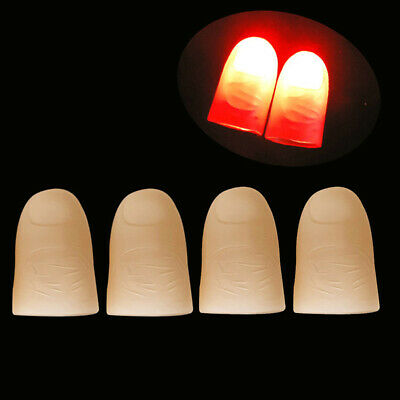 US 4x LED Finger Thumbs Light Red/Blue Color Magic Prop Party Bar Show Lamp Toy