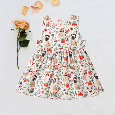 AU Toddler Kids Baby Girls Christmas Cartoon Sleeveless Party Dress Xmas Clothes