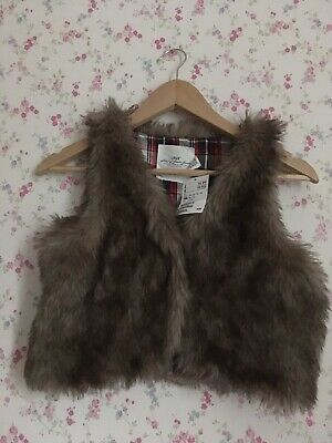 H&M Girls Brown Faux Fur Gilet, Age 12-13, Brand New With Tags, Tartan Interior