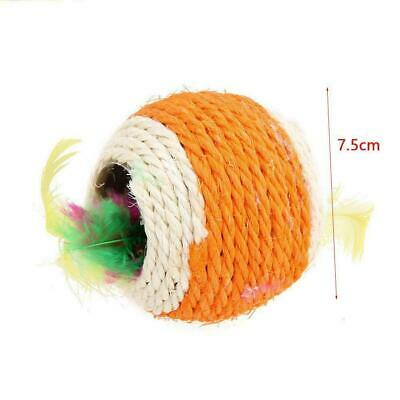 Sisal Rope Feather Ball Scratch Chew Play Toy Pet Kitten Toy Interactive HO R6F5