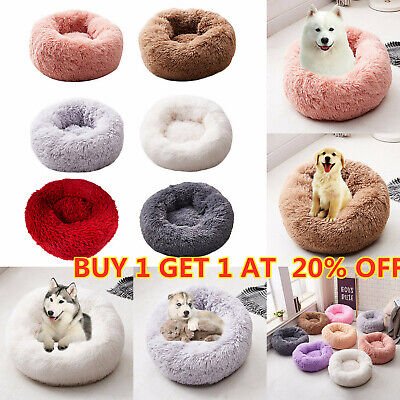 Pet Dog Cat Calming Bed Warm Plush Round Nest Comfy Sleeping Kennel Cave S M L