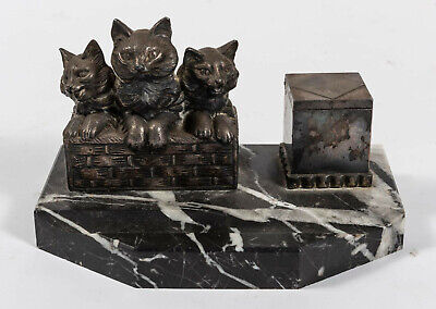 Kitten inkwell antique cast metal and marble early 20th century