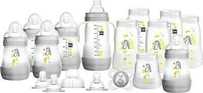 MAM Newborn Baby Feeding  Bottle Starter Set - Unisex - 24 Pieces - Grey