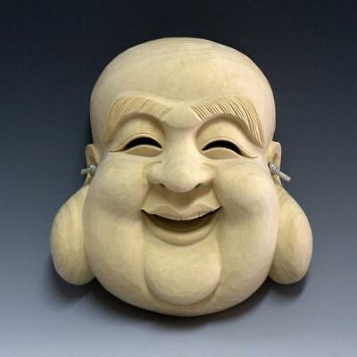 Japanese traditional Noh mask  wood carving Shichifukujin carving Lucky charm