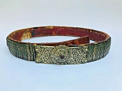 OLD ANTIQUE 18c TURKISH OTTOMAN EMPIRE GREEK SILVER LEATHER AND WOOD BELT