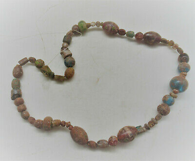 Ancient Phoenician Glass Bead Necklace Restrung Ancient Glass Beads