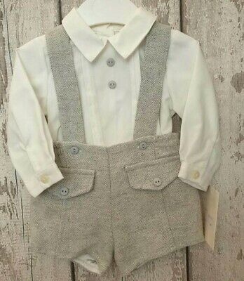 Outfit 6 to 36 months Spanish Style Baby Boy Dungaree Shorts and Shirt Set