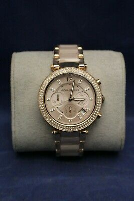 Michael Kors MK5896 Women's Parker 39mm Case Rose Gold Crystal Set Watch F4B11
