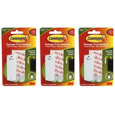 3 x Command Sawtooth Picture Hanging Hook Kit 1 Hanger & 2 Large Strips