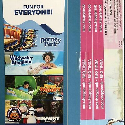 DORNEY PARK 4 Paper Tickets ~ Valid until end of 2019 Season ~ FREE SHIPPING
