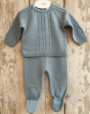 Spanish Style Baby Boy Knitted Leggings, Jumper and Bobble Hat Set / Outfit