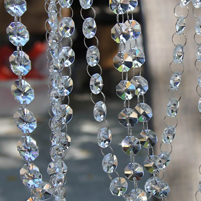 10FT Glass Crystal Garland Chandelier 14mm Octagon Beads Chain for Hanging Clear