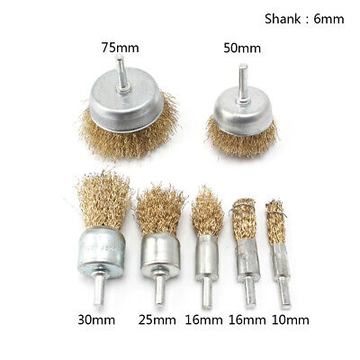 7Pc Brass Coated Wire Brush Abrasive Wheel Set For Metal Clean Polishing 10-75mm