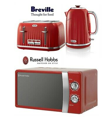 Breville Impressions Kettle and Toaster Set & Russell Hobbs Microwave Red - New
