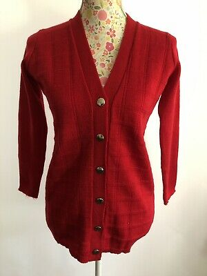 ORIGINAL VINTAGE 1970s RED CARDIGAN GOLD BUTTONS PATTERN RETRO DEAD STOCK